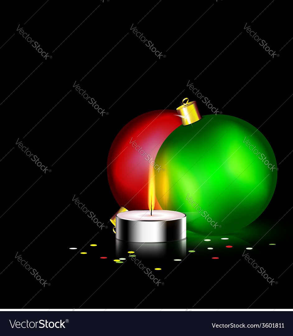 Candle and two christmas ball vector | Price: 1 Credit (USD $1)