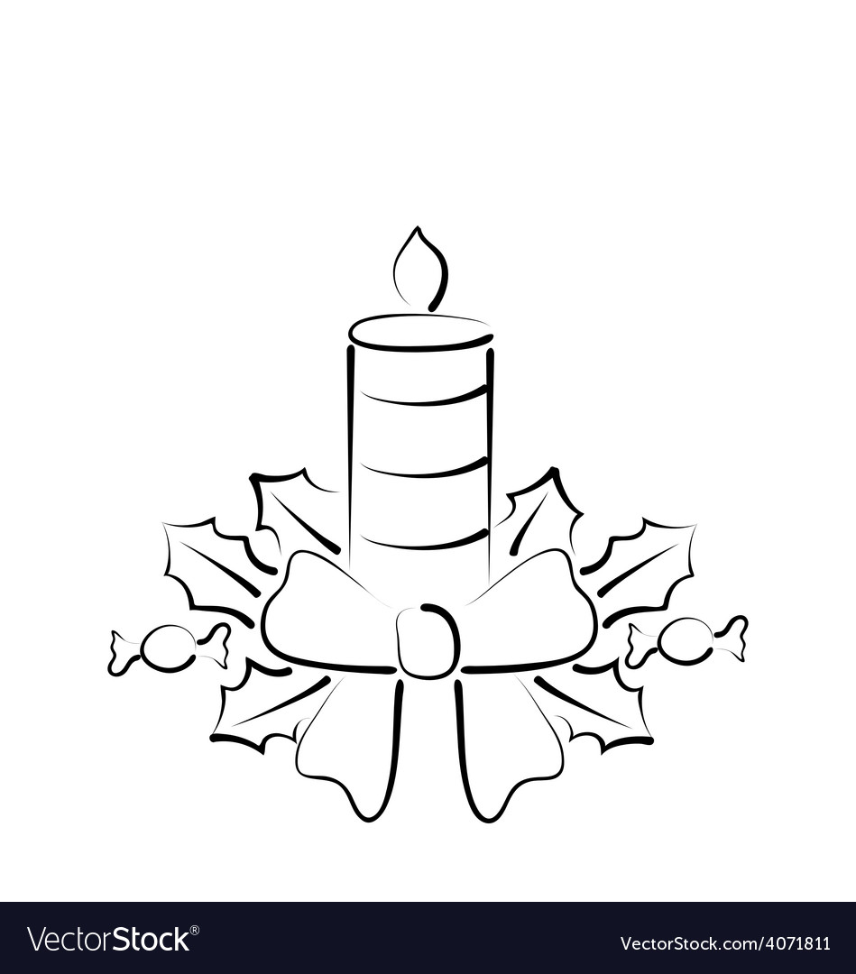 Christmas candle with bow freehand style vector | Price: 1 Credit (USD $1)