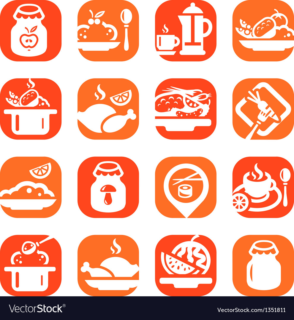 Color food icons vector | Price: 1 Credit (USD $1)