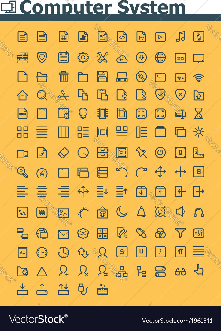 Computer system icon set vector | Price: 1 Credit (USD $1)
