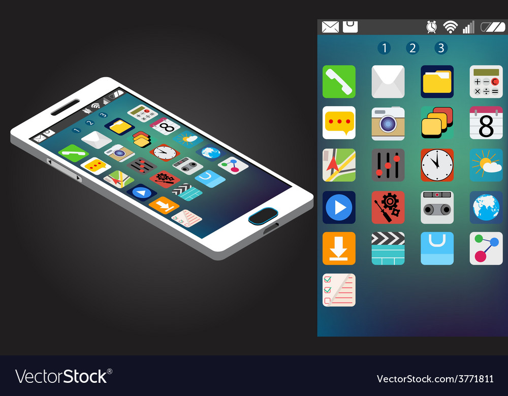 Isometric generic smartphone and interface vector | Price: 1 Credit (USD $1)