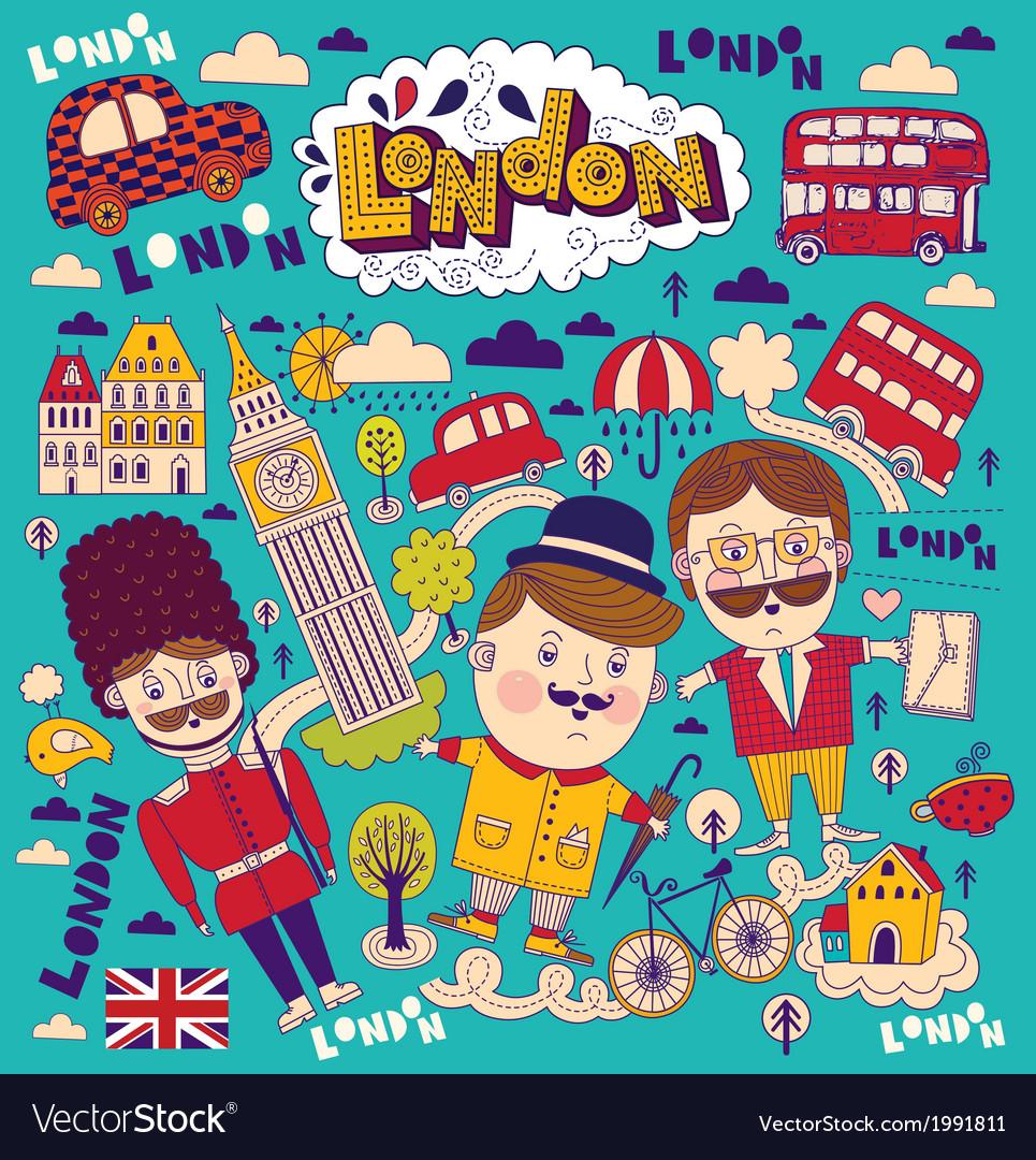 London travel elements vector | Price: 1 Credit (USD $1)