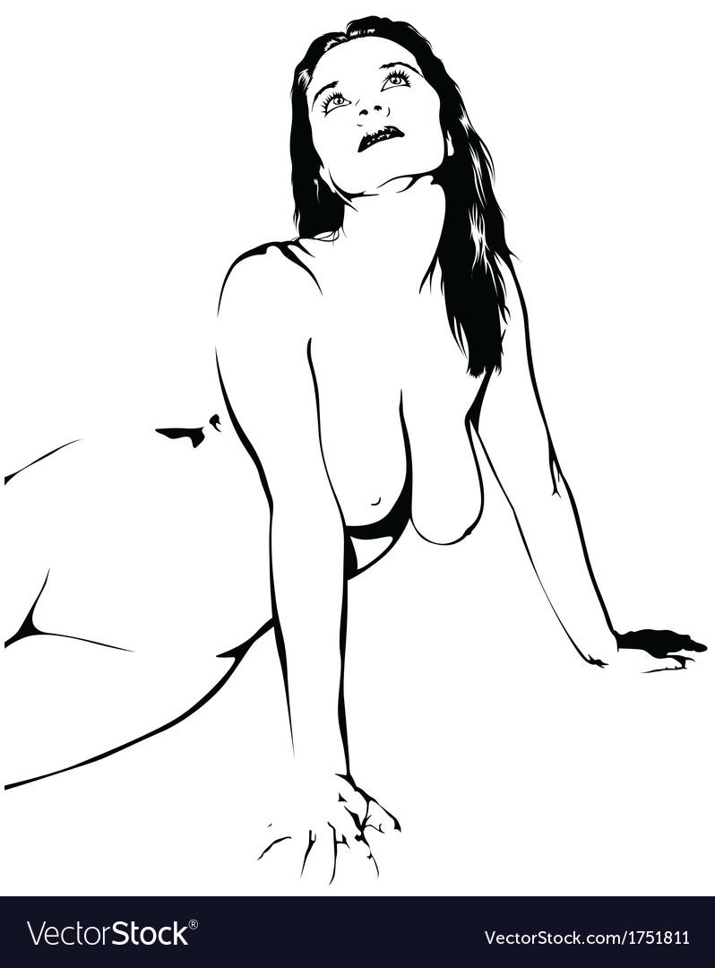 Naked girl sketch vector | Price: 1 Credit (USD $1)