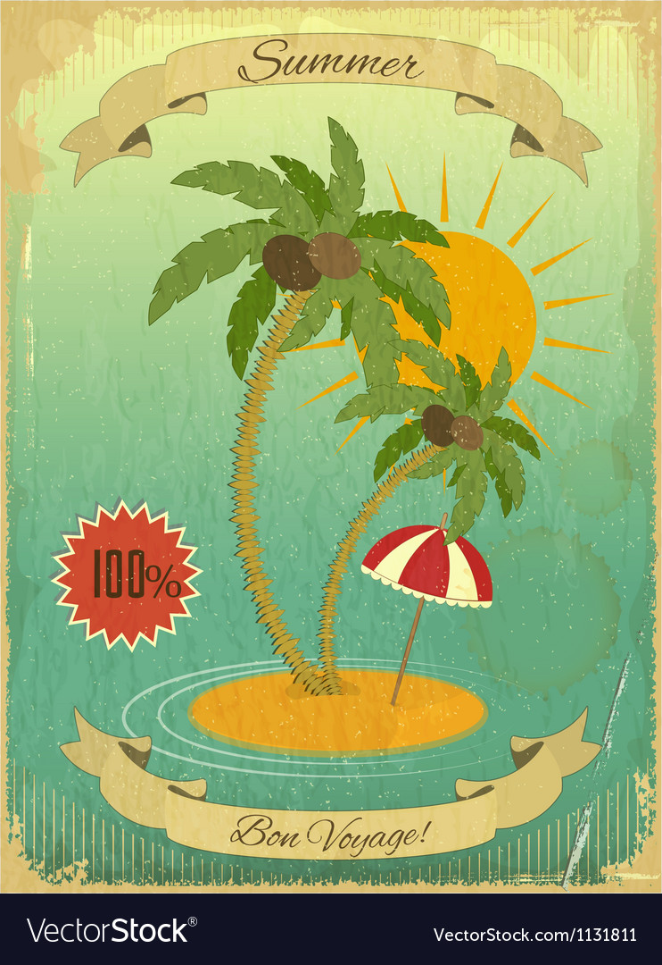 Retro vintage grunge summer vacation postcard vector | Price: 1 Credit (USD $1)