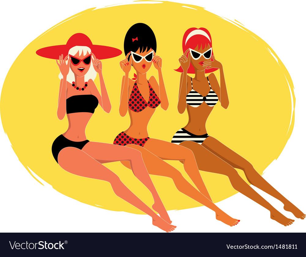 Three women on the beach vector | Price: 1 Credit (USD $1)