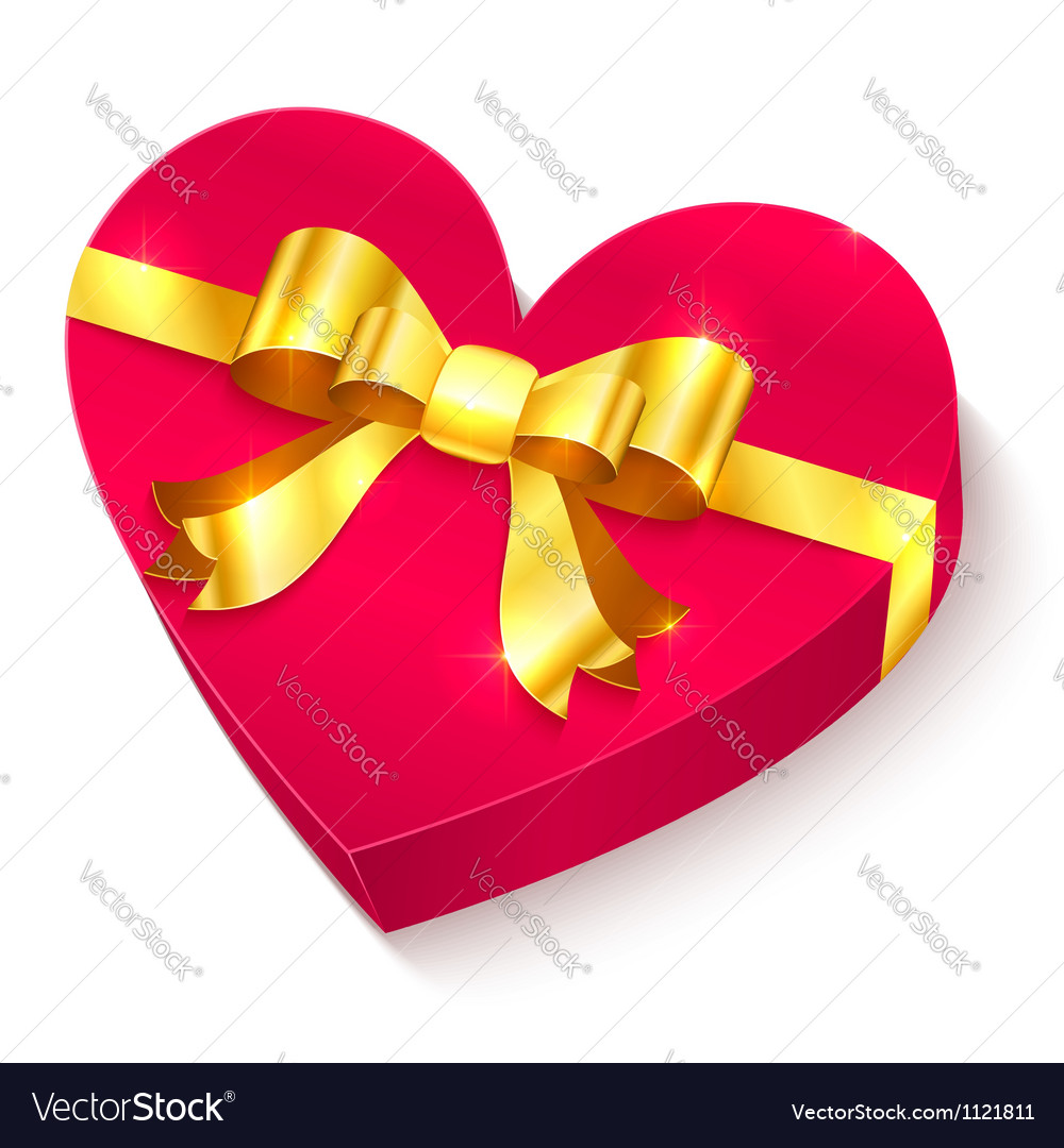 Valentines day 3d heart gift box vector | Price: 1 Credit (USD $1)