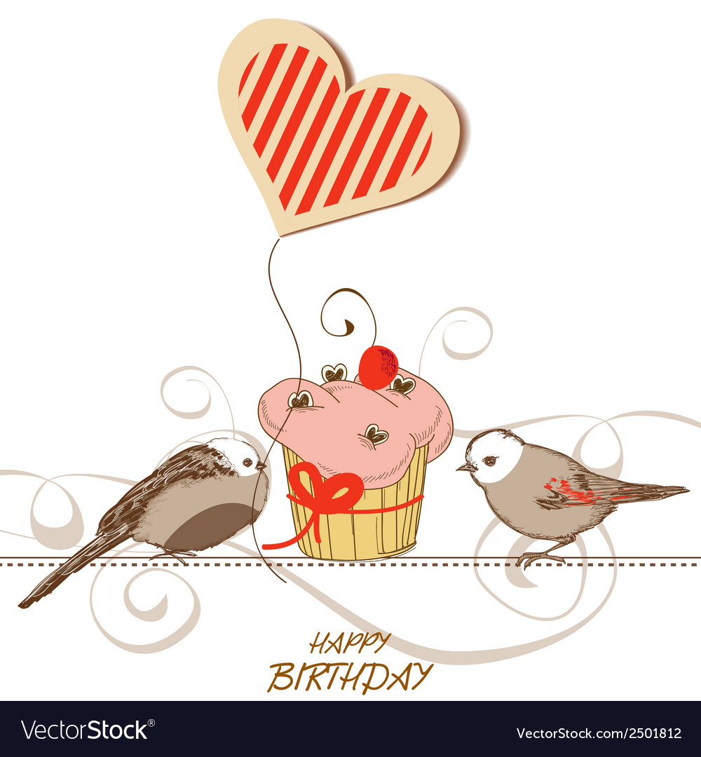 Birthday card with cute birds cupcake and heart vector | Price: 1 Credit (USD $1)