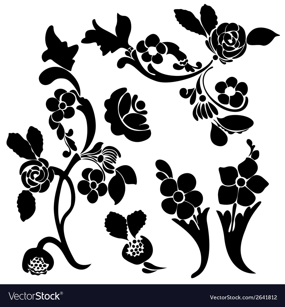 Black silhouette flower vector | Price: 1 Credit (USD $1)