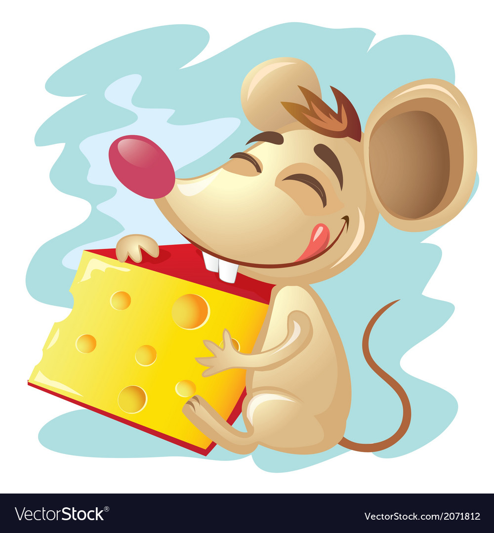 Cartoon mouse holding a wedge of cheese vector | Price: 1 Credit (USD $1)