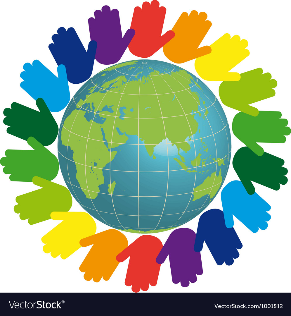 Eco logo - earth and color hands vector | Price: 1 Credit (USD $1)