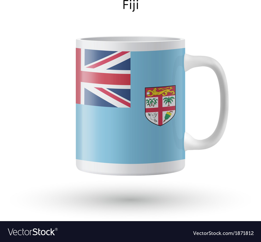 Fiji flag souvenir mug on white background vector | Price: 1 Credit (USD $1)