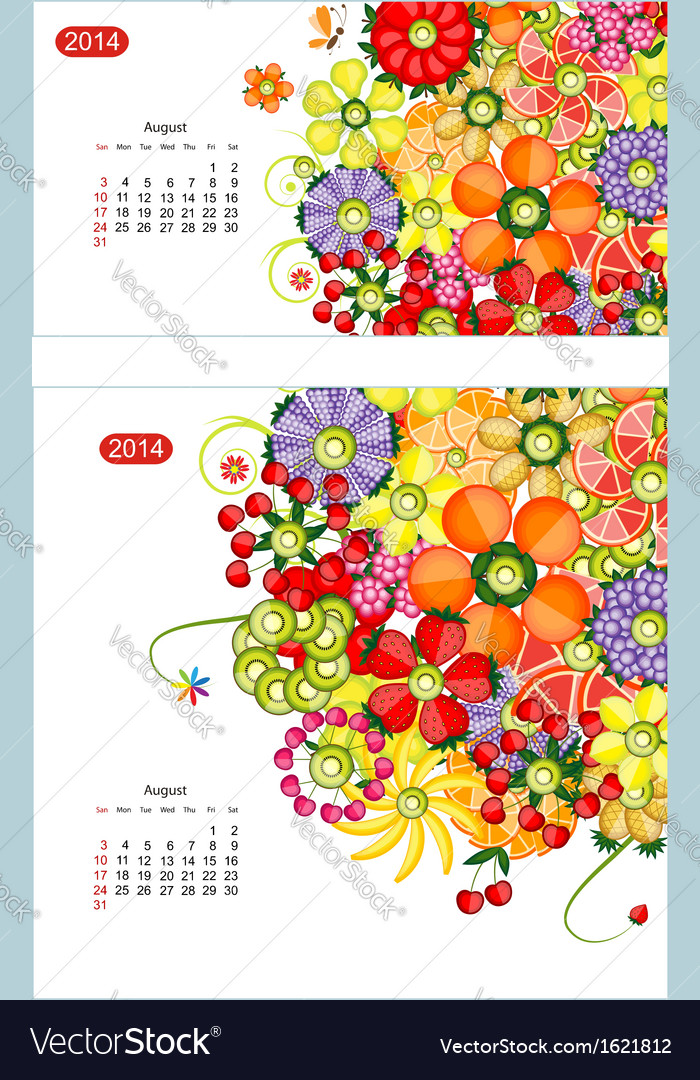 Floral calendar 2014 august design for two size of vector | Price: 1 Credit (USD $1)