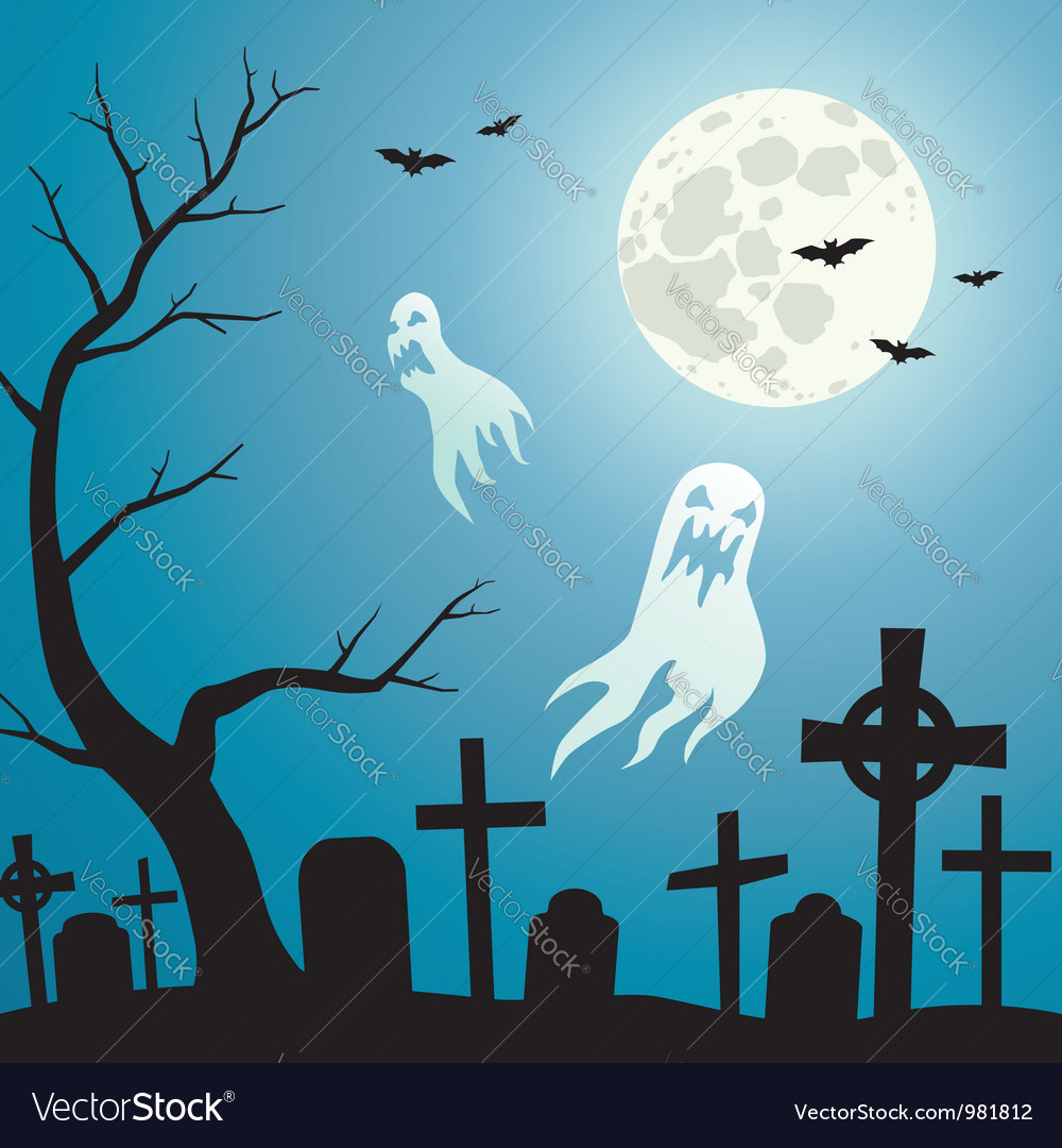 Graveyard with ghosts vector | Price: 1 Credit (USD $1)