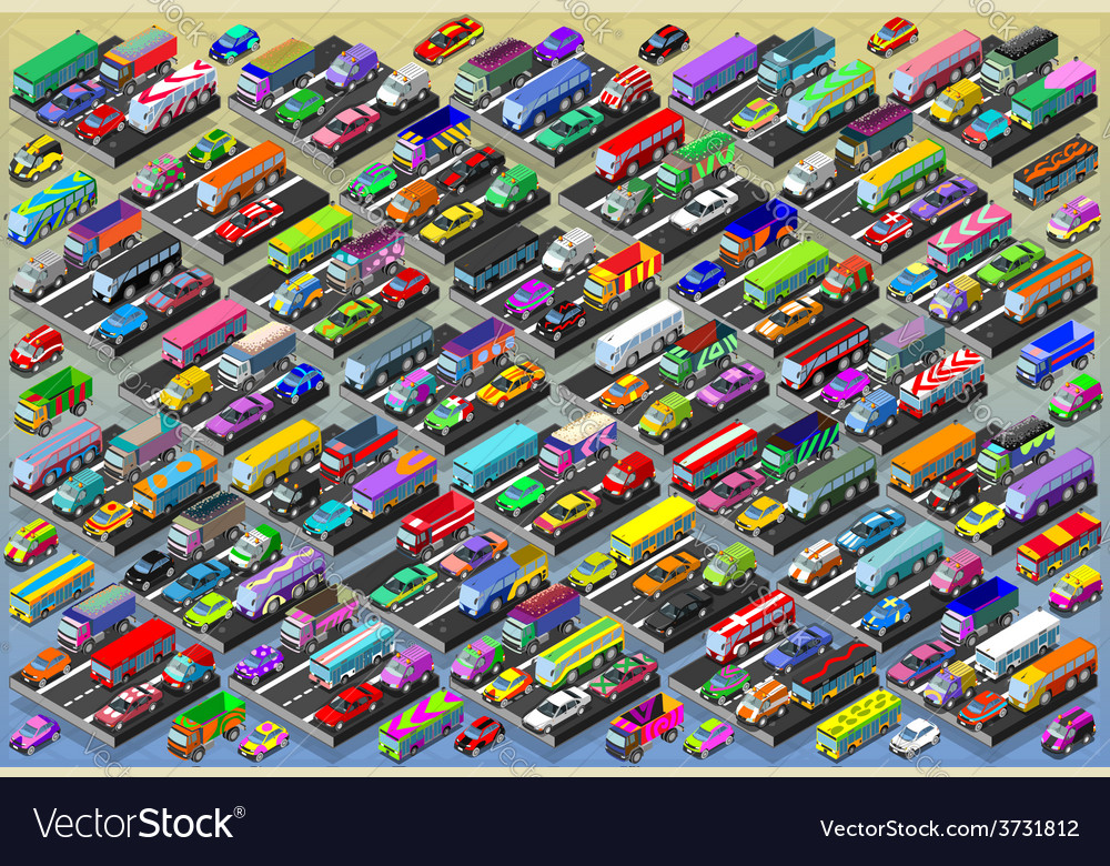 Isometric cars buses trucks vans mega collection vector | Price: 3 Credit (USD $3)