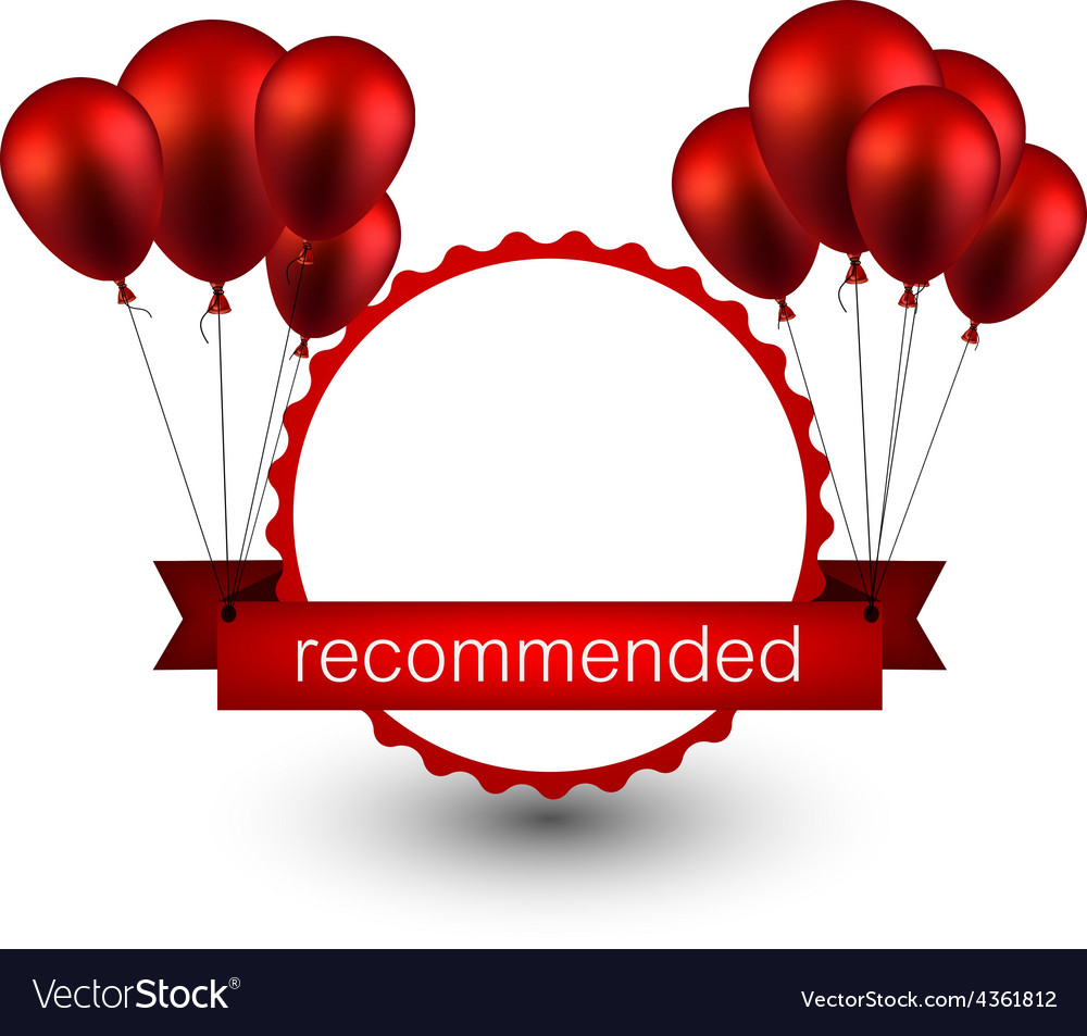 Recommended red ribbon background with balloons vector | Price: 1 Credit (USD $1)