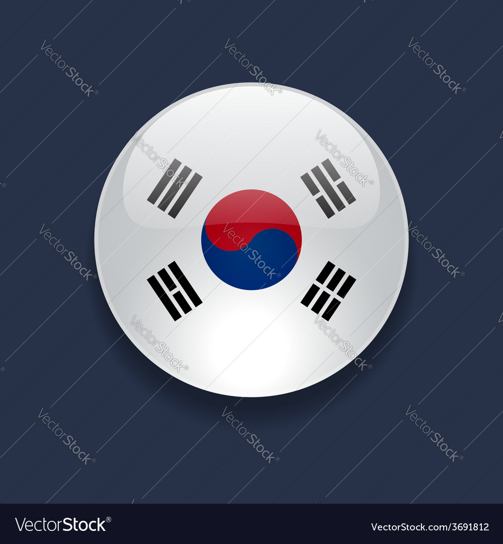Round icon with flag of south korea vector | Price: 1 Credit (USD $1)