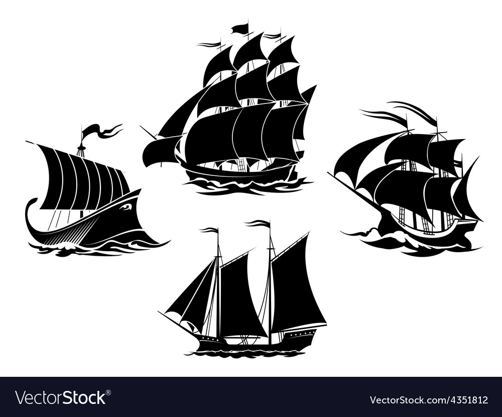 Sailboats and sailing ships silhouettes vector | Price: 1 Credit (USD $1)