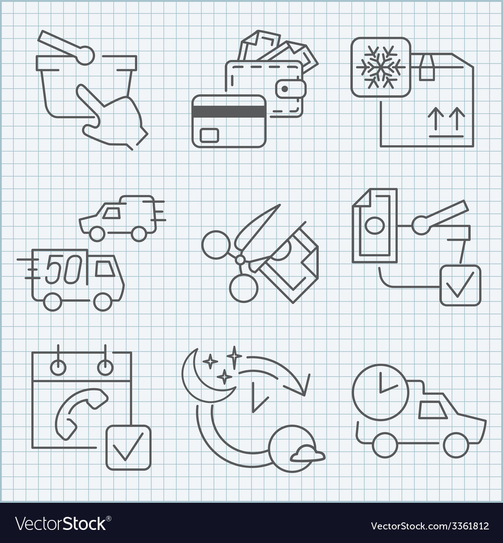 Shoopping store and delivery icons set vector | Price: 1 Credit (USD $1)