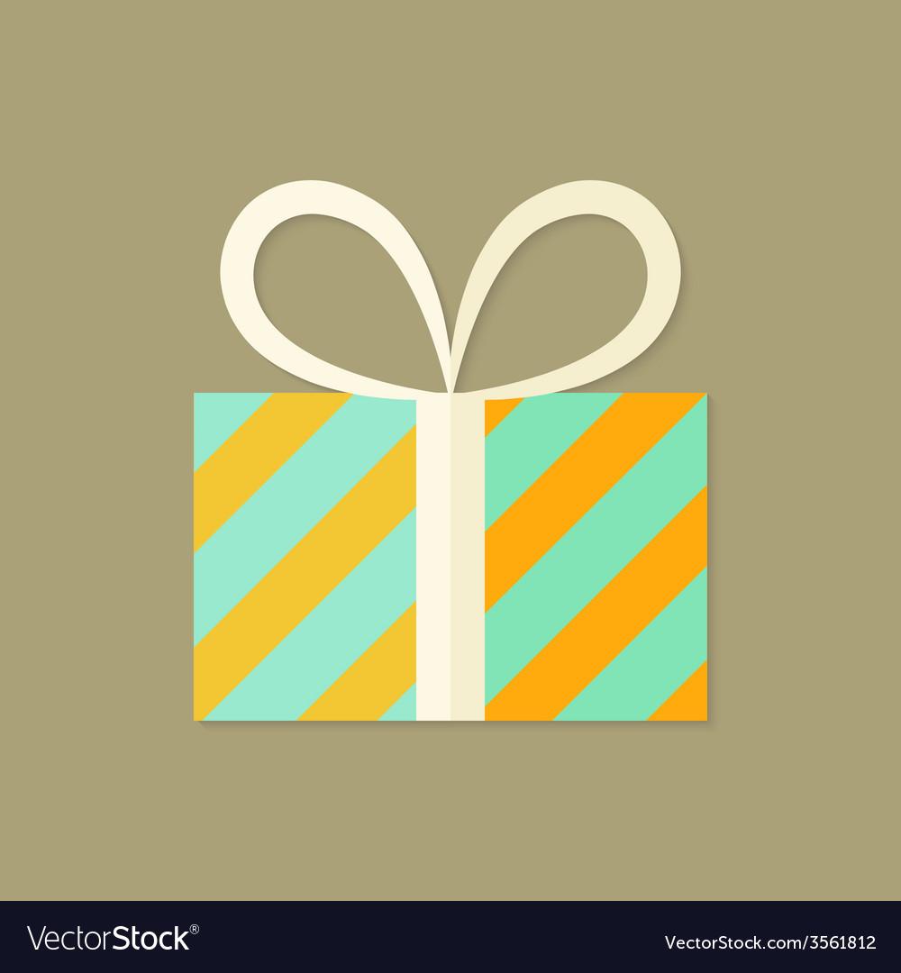 Striped christmas present box flat icon vector | Price: 1 Credit (USD $1)