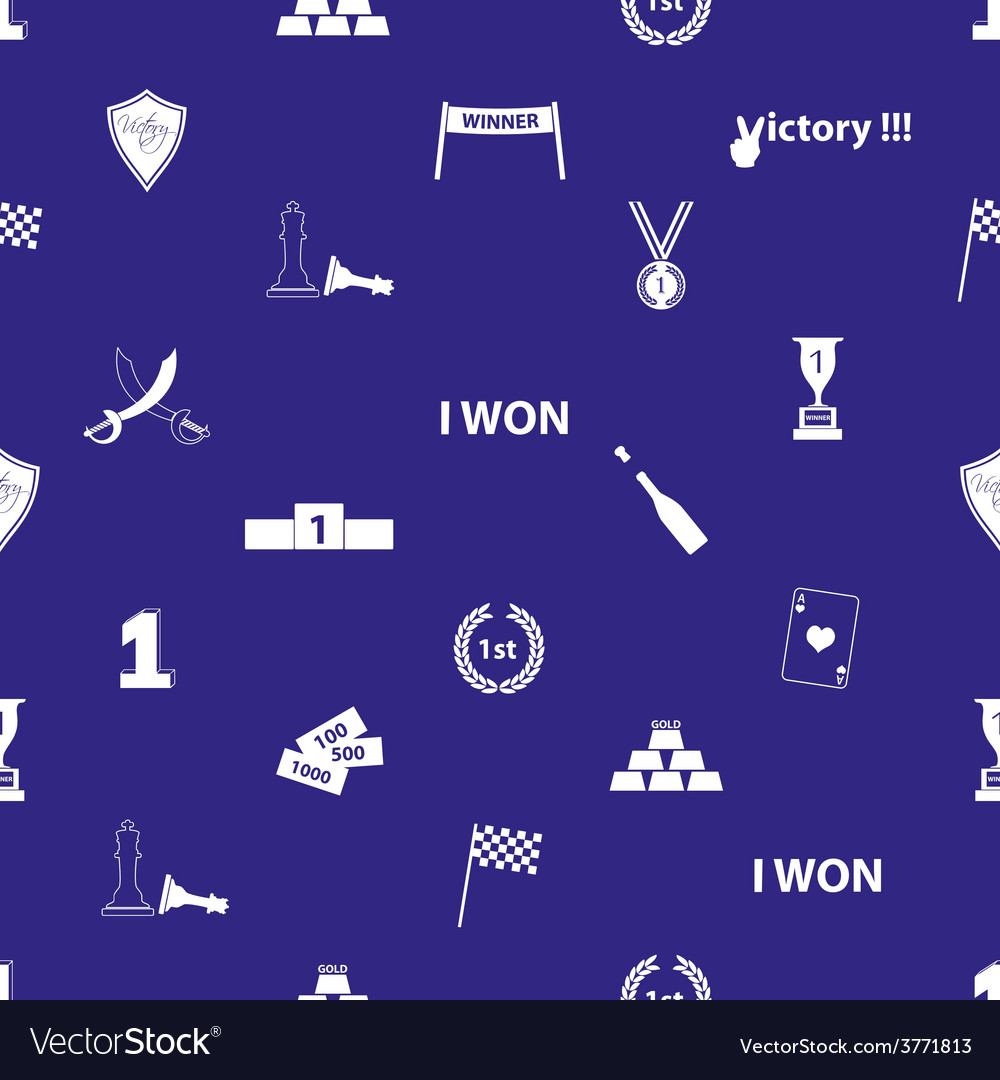 Flawless victory symbols blue and white seamless vector | Price: 1 Credit (USD $1)