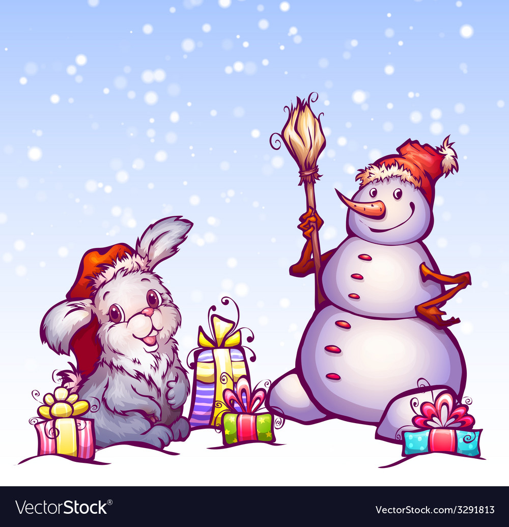 Hare and snowman vector | Price: 3 Credit (USD $3)