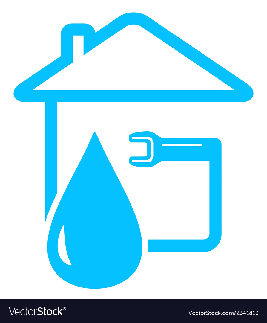 Plumbing icon with drop of water and spanner vector | Price: 1 Credit (USD $1)