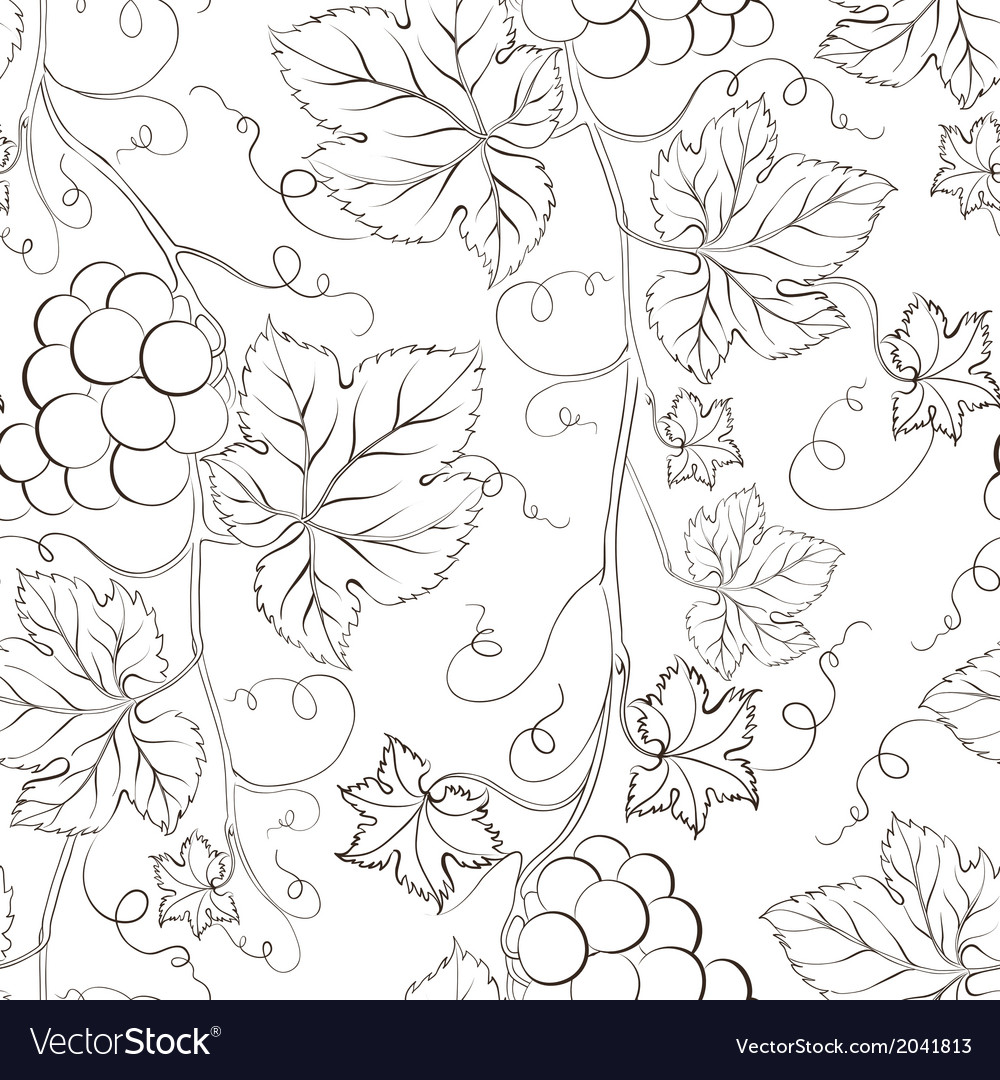 Seamless grape pattern black and white vector | Price: 1 Credit (USD $1)