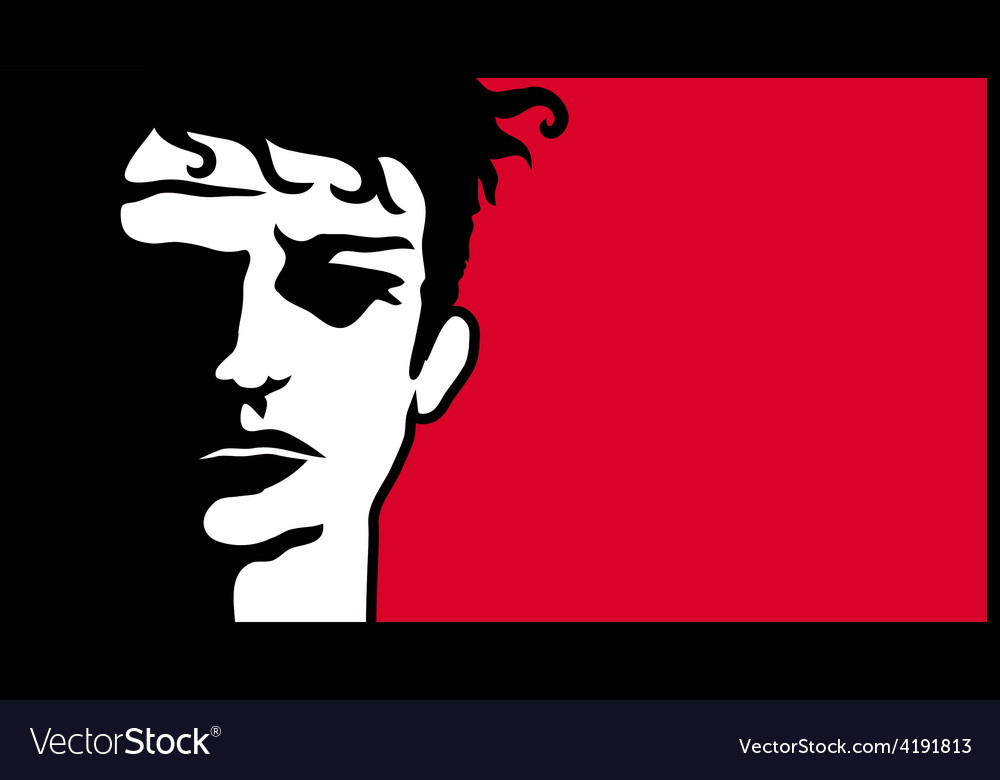 Young determined activist with dramatic face vector | Price: 1 Credit (USD $1)