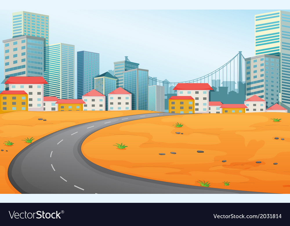 A narrow road going to the city vector | Price: 1 Credit (USD $1)