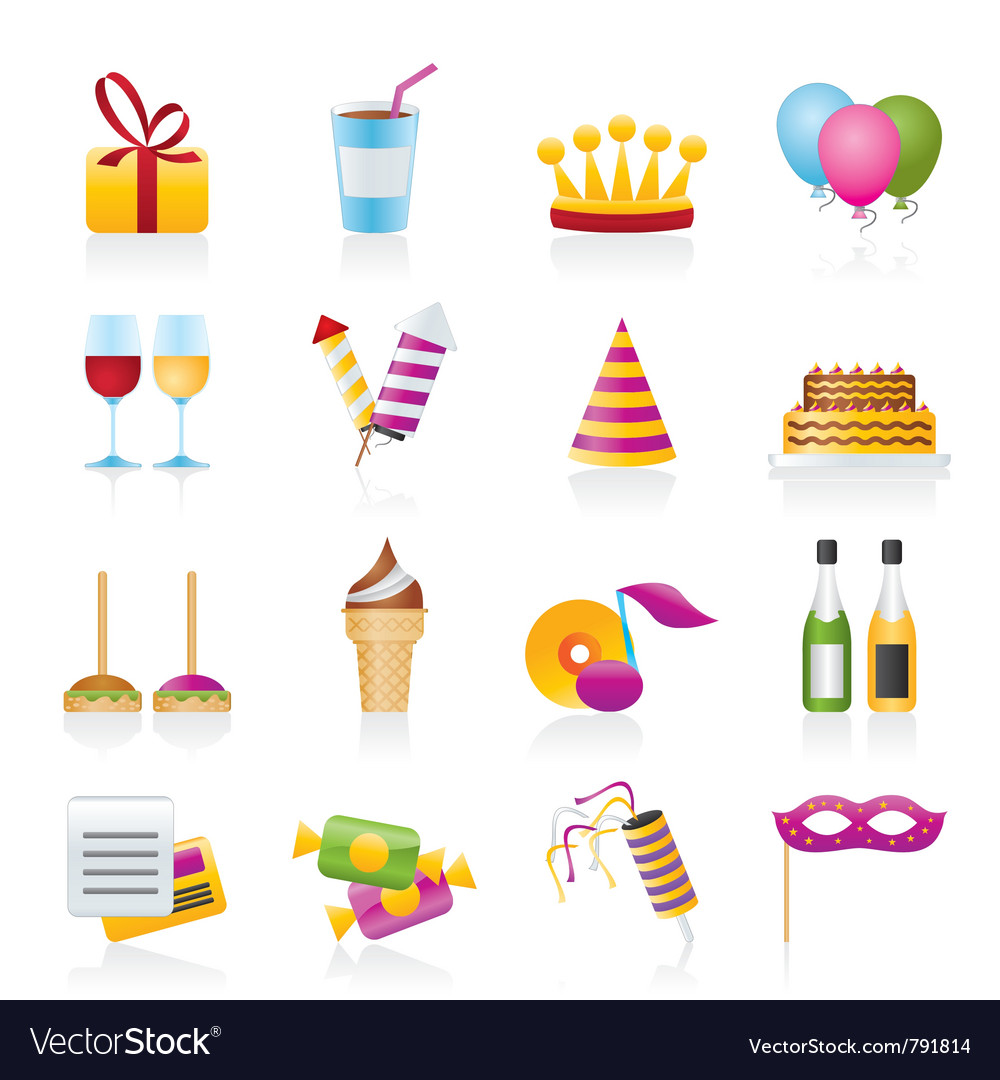 Birthday and party icons vector | Price: 3 Credit (USD $3)