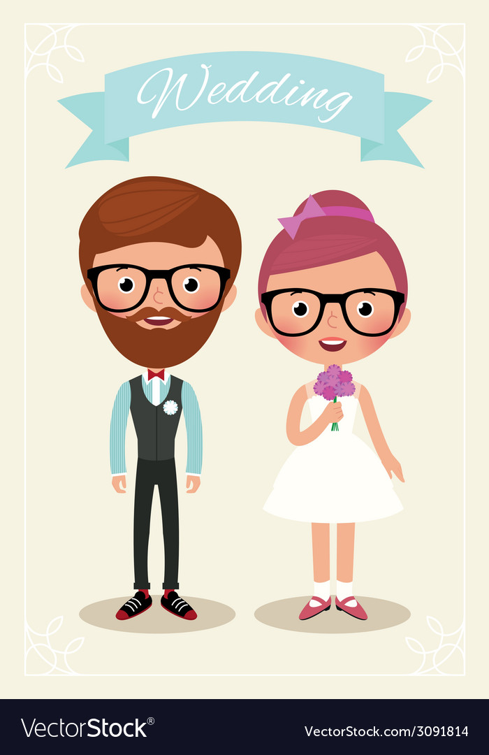 Bride and groom hipsters vector | Price: 1 Credit (USD $1)