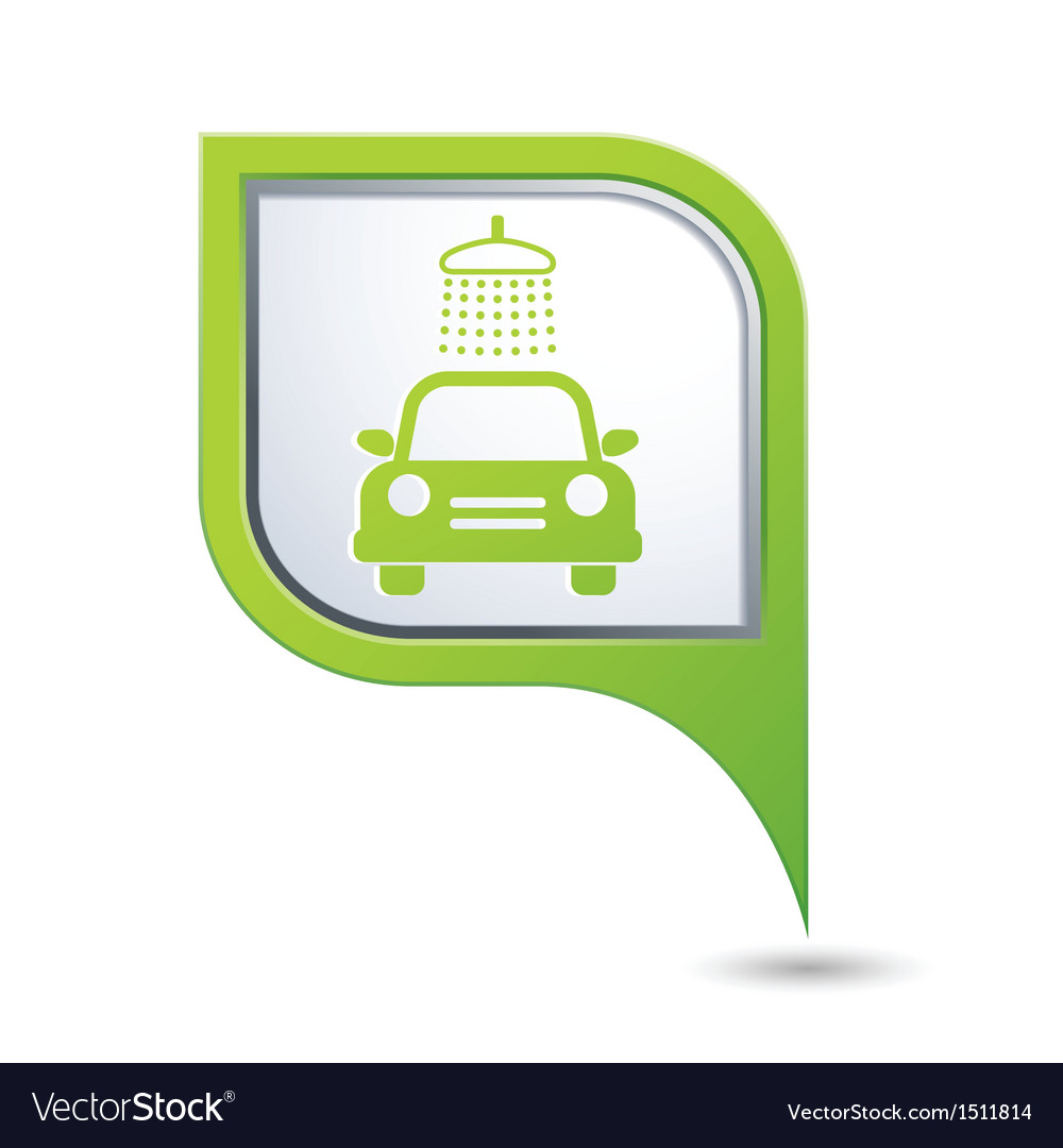 Car wash symbol on green map pointer vector | Price: 1 Credit (USD $1)