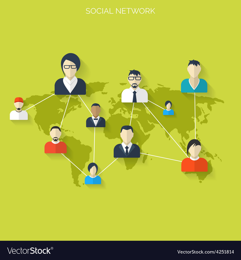 Flat social media and network concept business vector | Price: 1 Credit (USD $1)