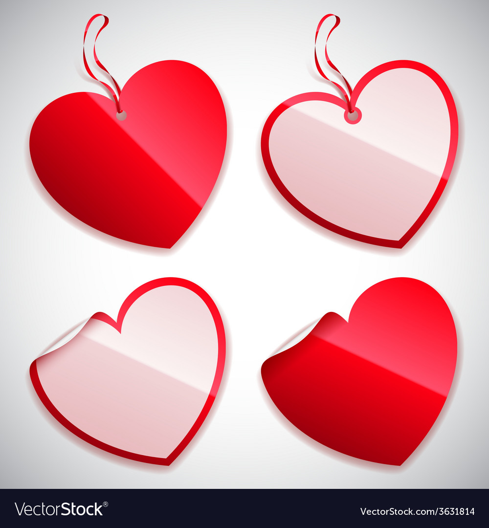 Heart shaped tags vector