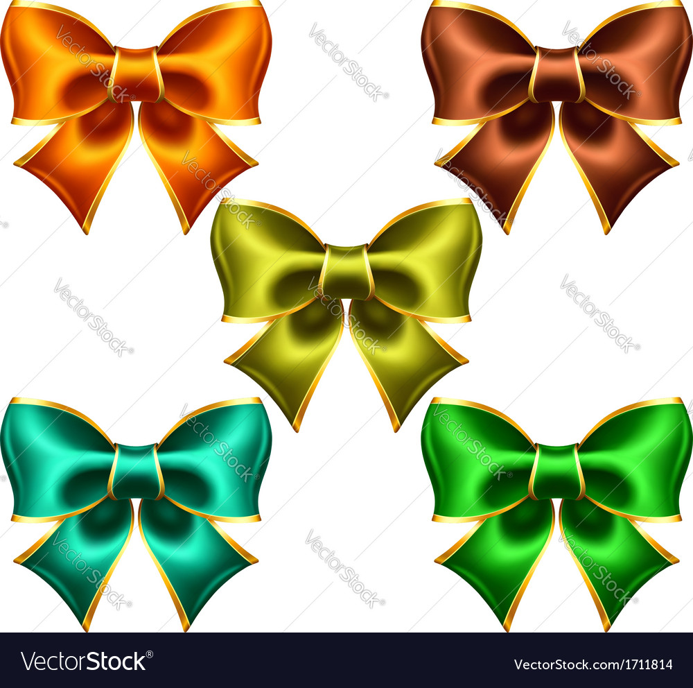 Holiday bows with gold edging vector | Price: 1 Credit (USD $1)