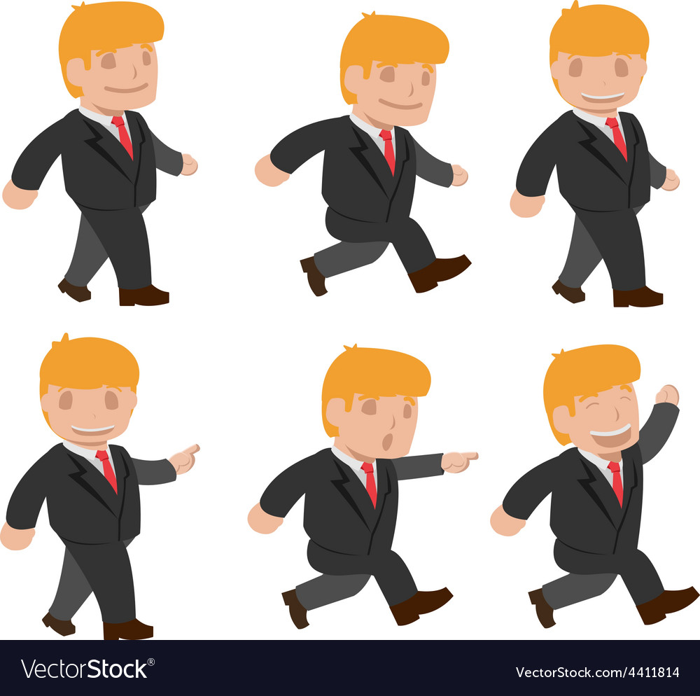 Man run walk funny cartoon set vector | Price: 1 Credit (USD $1)