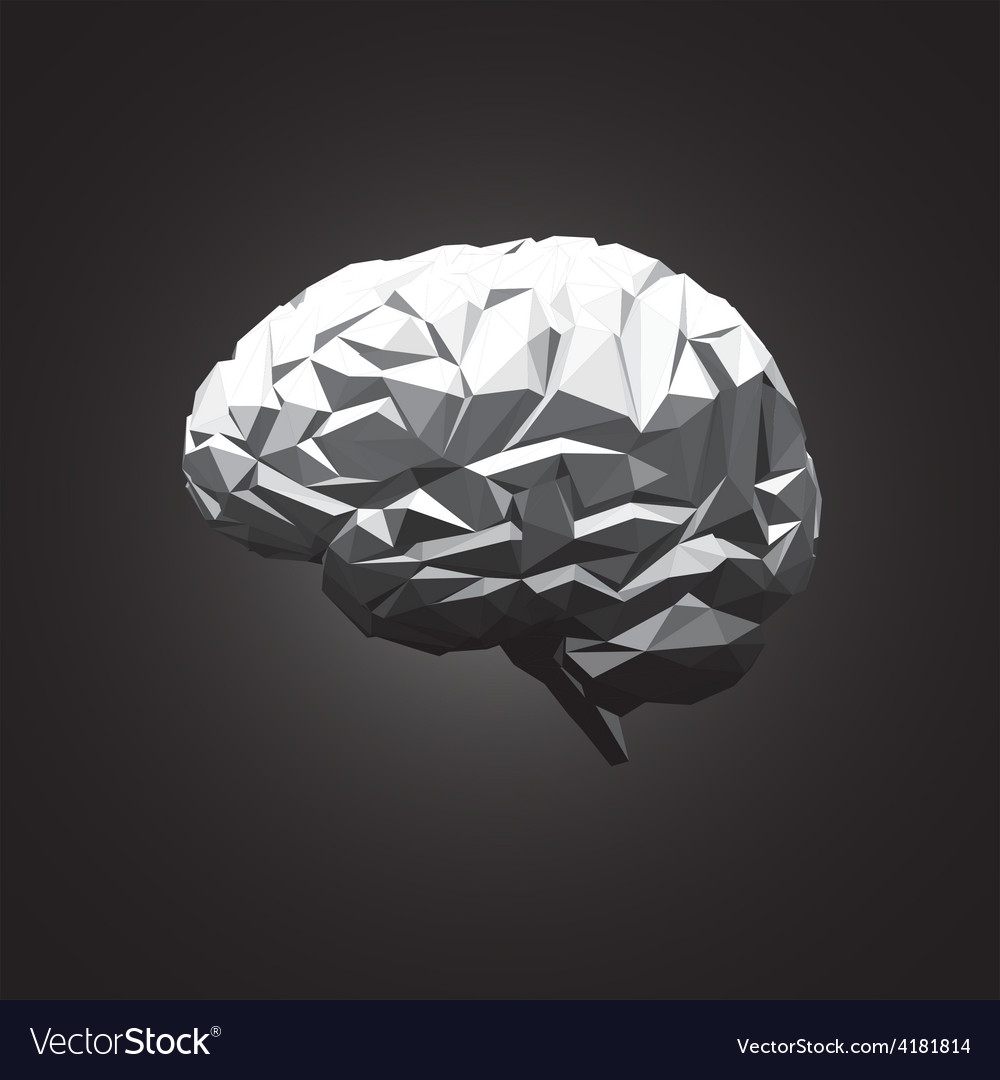 Paper abstract human brain on dark background vector | Price: 1 Credit (USD $1)