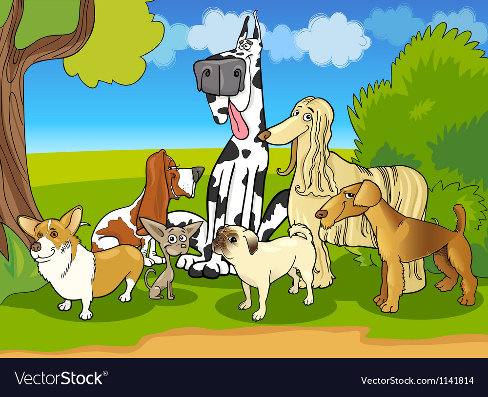 Purebred dogs group cartoon vector | Price: 3 Credit (USD $3)