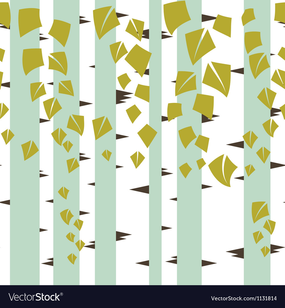 Seamless texture with green trees of birch vector | Price: 1 Credit (USD $1)