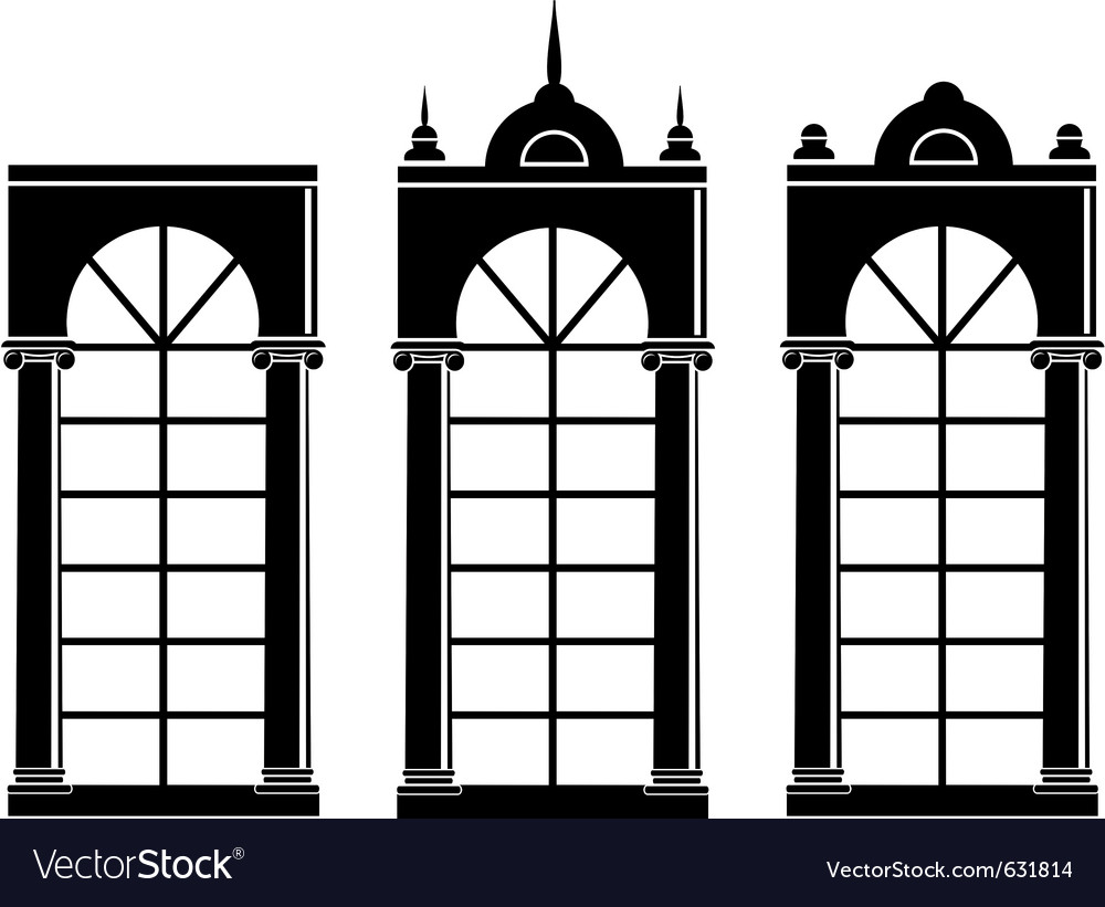 Silhouettes of medieval windows vector | Price: 1 Credit (USD $1)