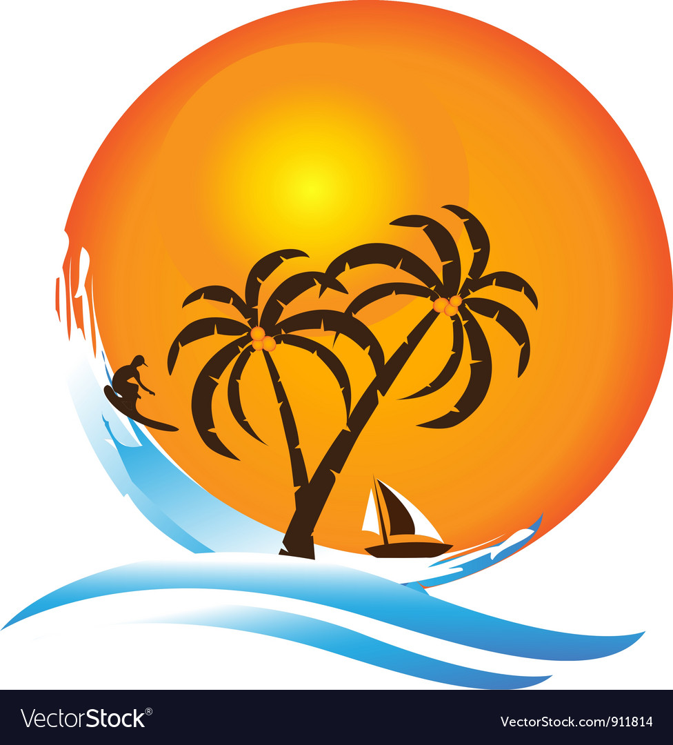 Tropical island paradise logo vector | Price: 1 Credit (USD $1)