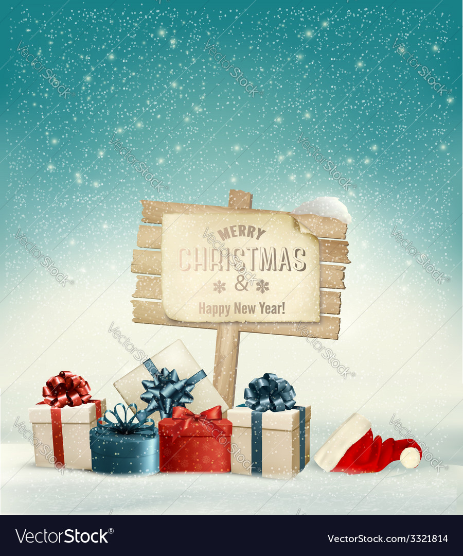 Winter christmas with a sign gift boxes and a vector | Price: 3 Credit (USD $3)