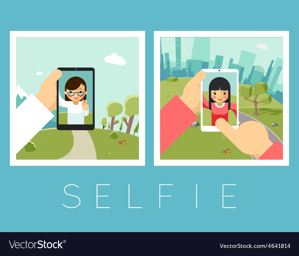 Womens selfie outdoor and mountains photos vector | Price: 1 Credit (USD $1)