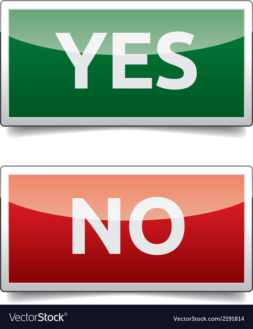 Yes - no color board with shadow on white vector | Price: 1 Credit (USD $1)