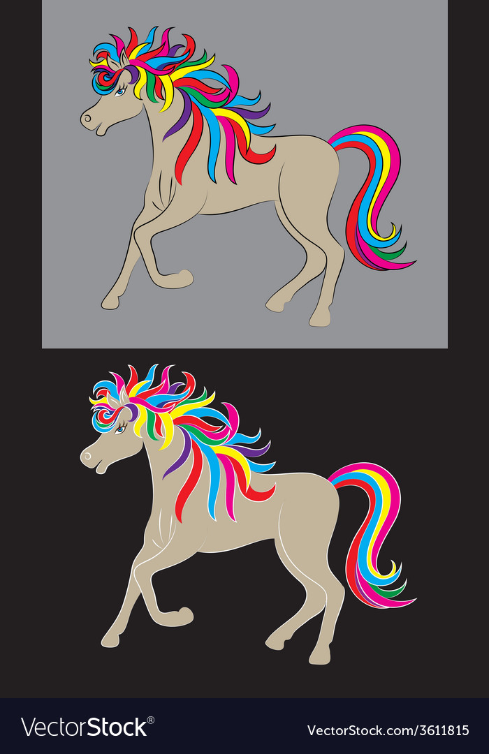 Beauty horse rainbow vector | Price: 1 Credit (USD $1)