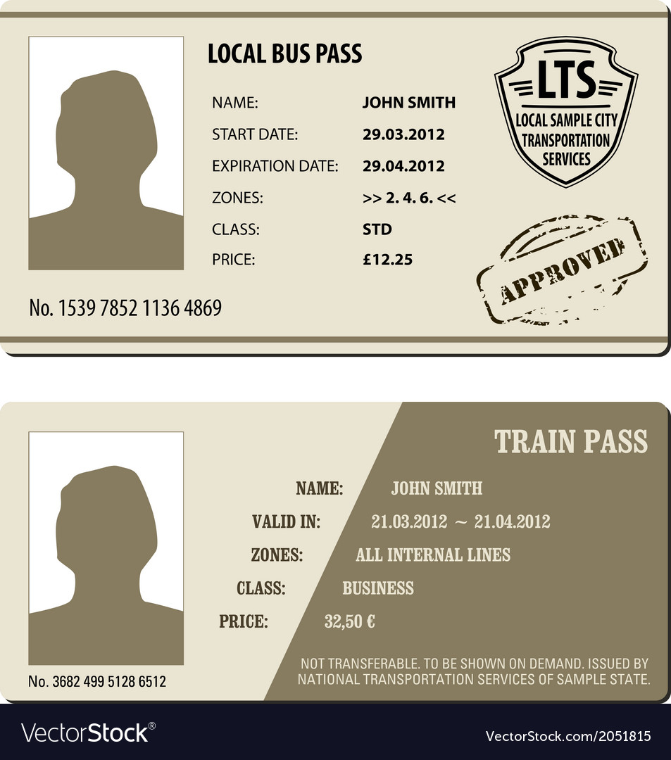 Bus and train pass set vector | Price: 1 Credit (USD $1)