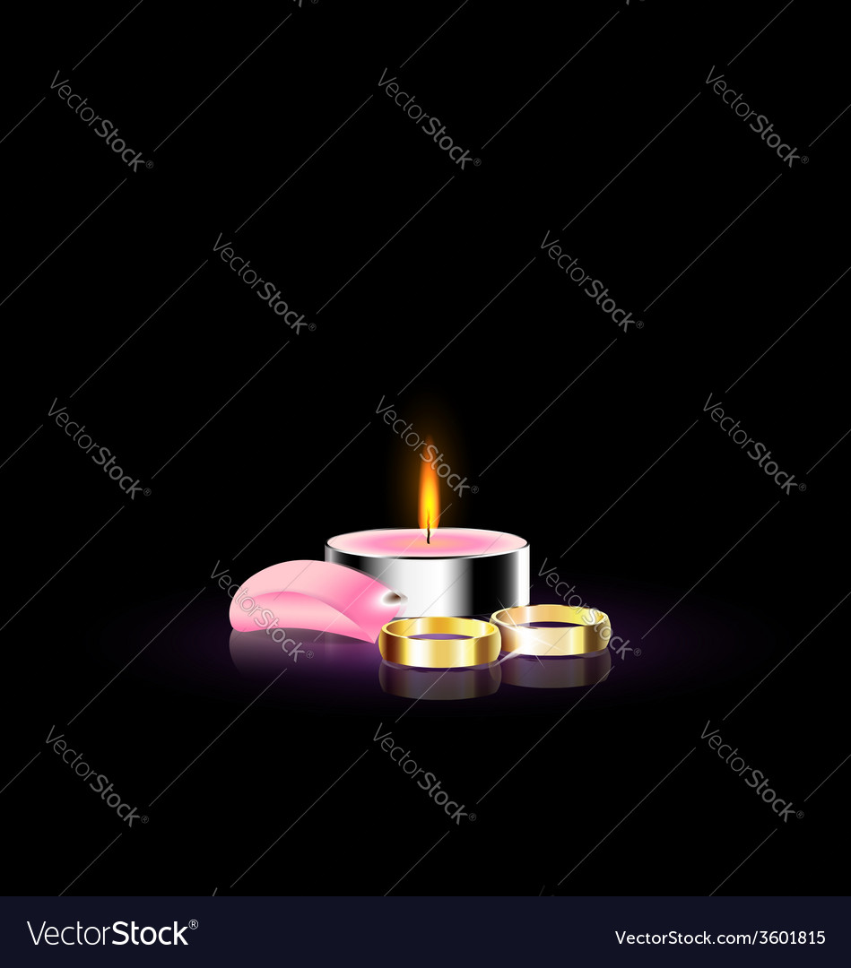 Candle with petal and ring vector | Price: 1 Credit (USD $1)