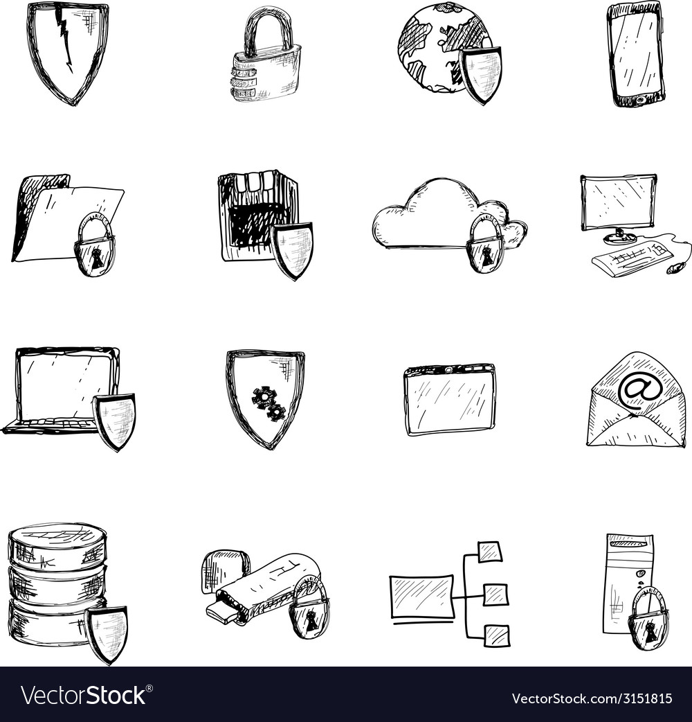 Data protection sketch icons vector | Price: 1 Credit (USD $1)