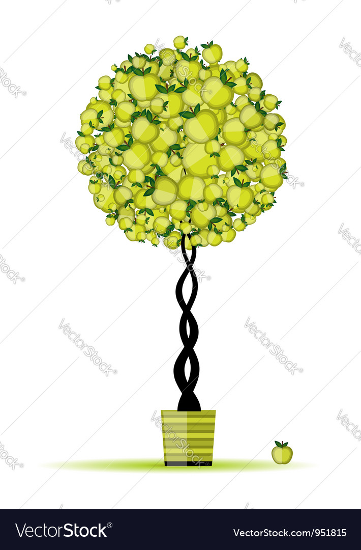 Energy apple tree in pot for your design vector | Price: 1 Credit (USD $1)