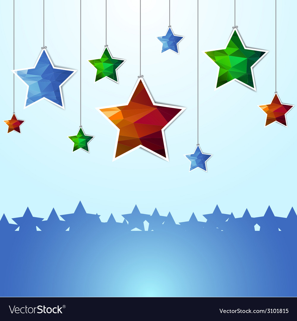 Hanging polygon stars vector | Price: 1 Credit (USD $1)